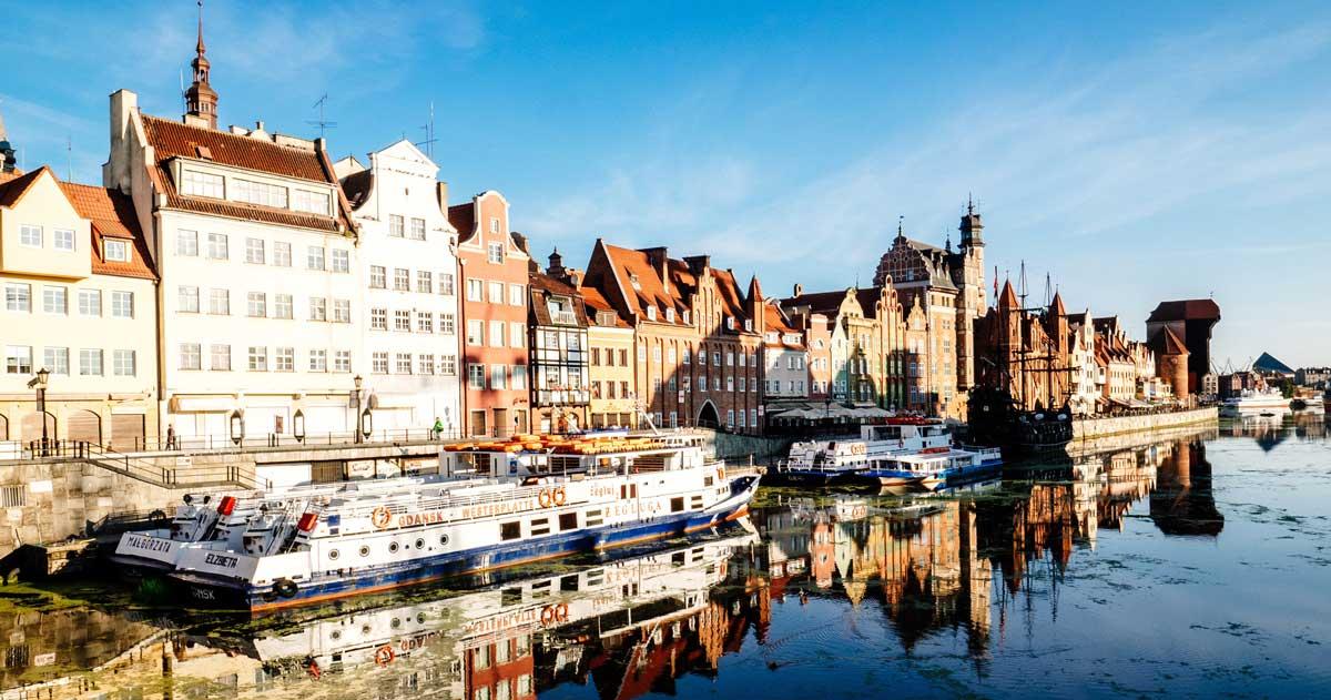 Schiffe in Danzig im Polen Podcast von Welttournee