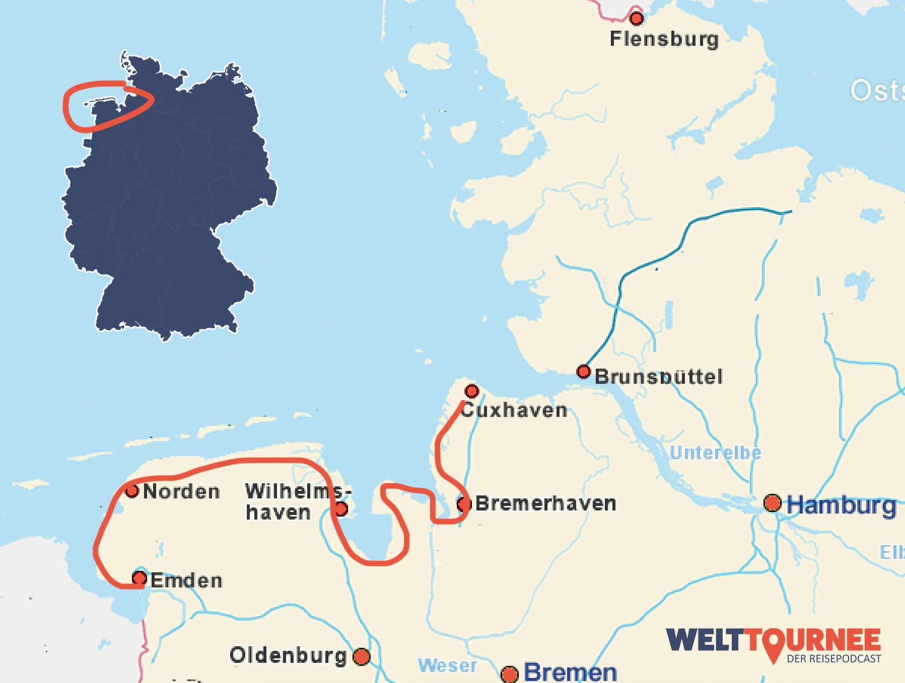 Karte vom Nordseeküstenradweg